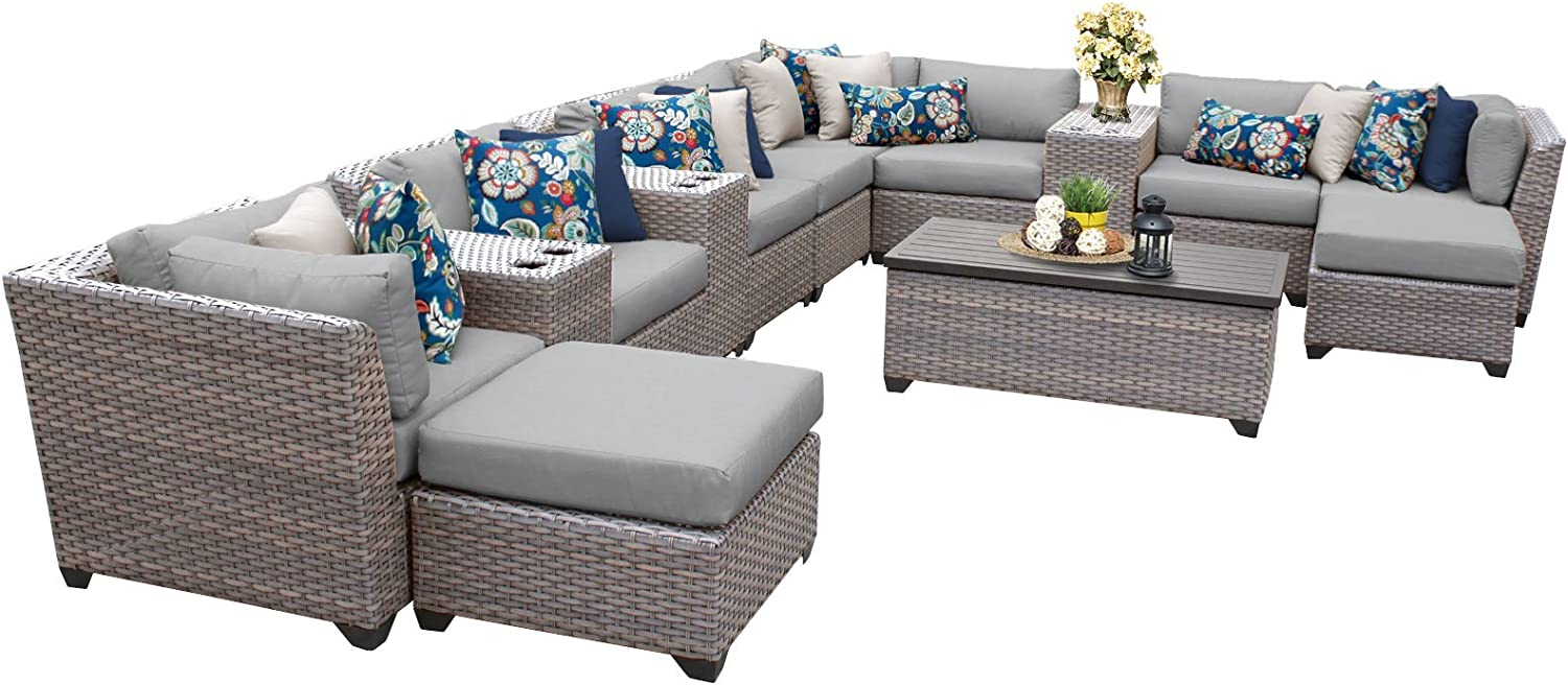 TK Classics FLORENCE-14a 14 Piece Outdoor Wicker Patio Furniture Set