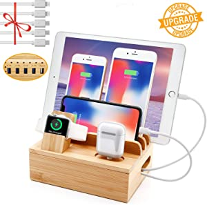 Bamboo Charging Station for Multiple Devices, Sendowtek 6-in-1 USB Charging Station with 5-Port for Cell Phone Tablet Electronic, Watch Stand Earbuds Docking Station Organizer-5 Mixed Cables Included