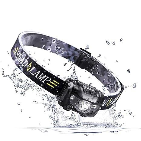 TatuerヘッドライトUSB充電式センサー機能ヘッドランプ高輝度小型軽量IPX4防水五つの点灯モード釣り/キャンプ/サイクリング/作業/防犯防災などに最適の画像