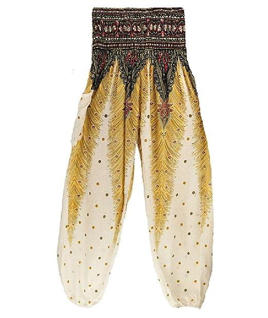 Amazon.com: Rico pantalones estilo tailandés blanco verano ...