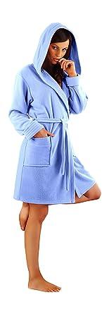29eac71da8 Womens Bathrobe Short Terry Towelling Dressing Gown Housecoat Belt and Hood