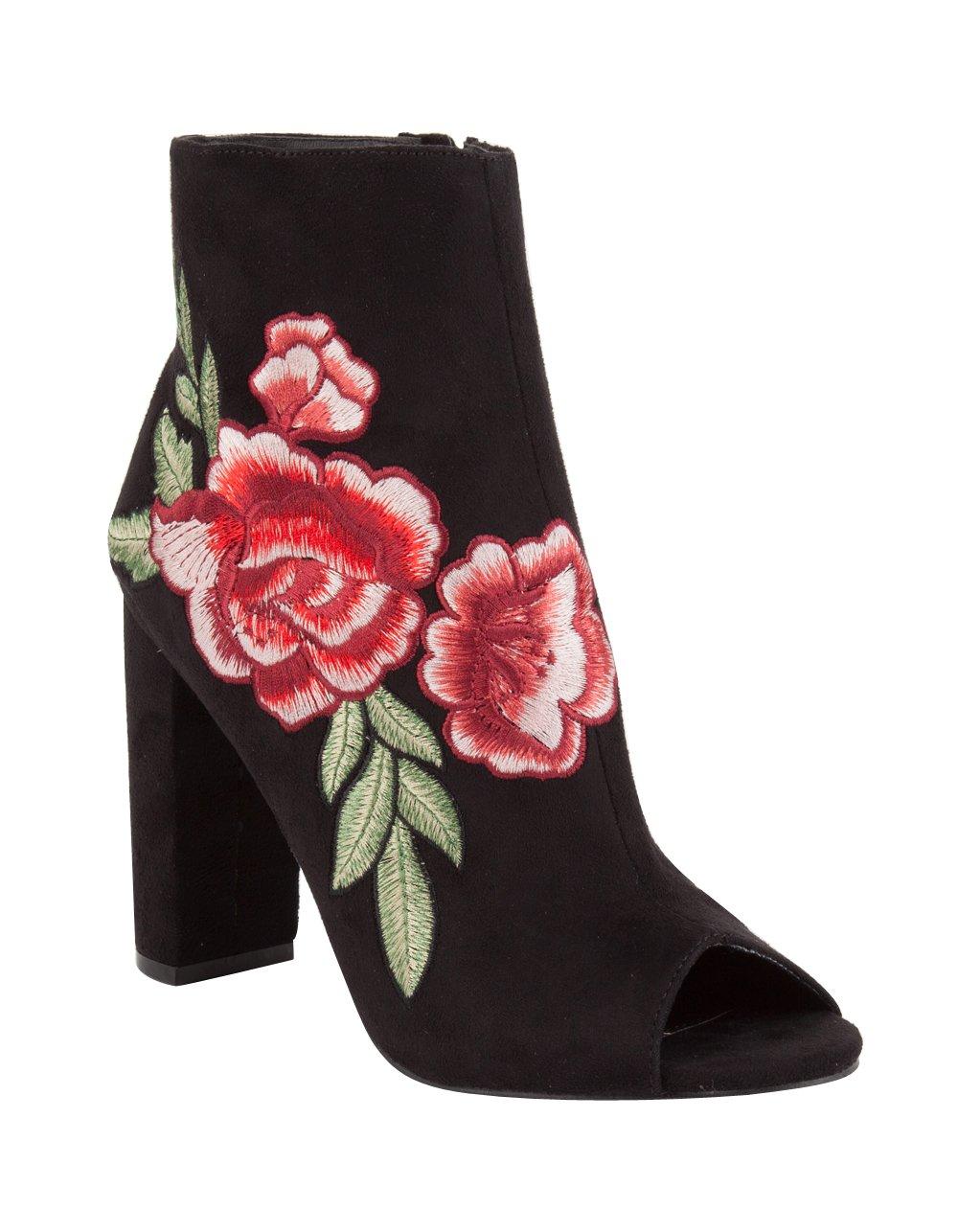 Wild Diva Rose Embroidered Peep Toe Womens Heeled Booties,7.5 B(M) US,Black