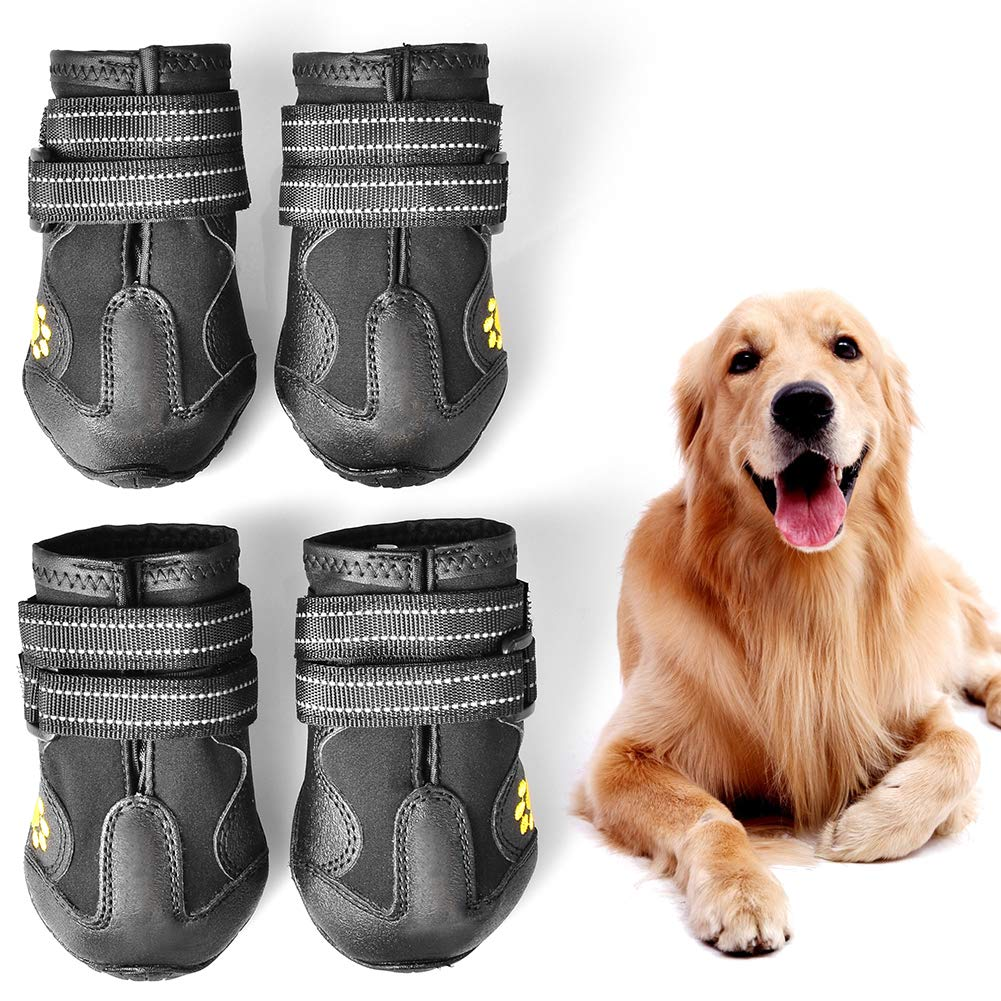 WUXIAN Waterproof Dog Shoes,Dog Outdoor Shoes, Running Shoes for Dogs,Pet Rain Boots, Labrador Husky Shoes for Medium to Large Dogs,Rugged Anti-Slip Sole and Skid-Proof- 4Pcs