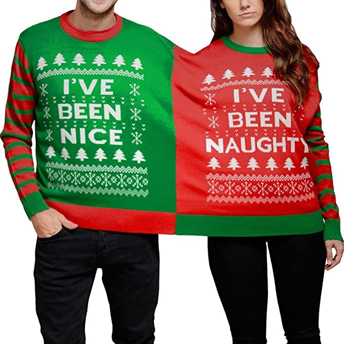 Christmas Naughty Or Nice Chart.Flank Christmas Tree Letters Print Siamese Sweater Naughty