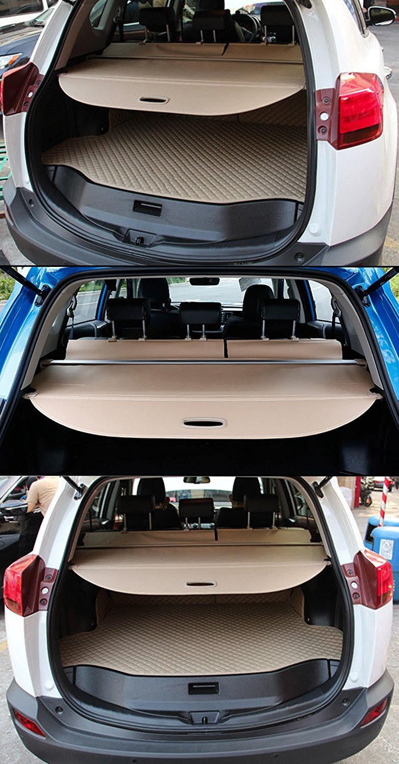 Retractable Rear Trunk Cargo Cover/Trunk Organizers/Trunk Shielding Shade for 13-17 Toyota Rav4 Luggage&Baggage Privacy/Security/Safety Protecter by Juntu