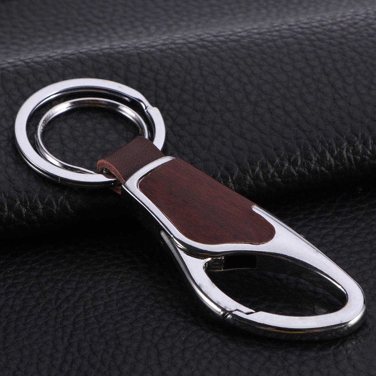 Amazon.com: WINOMO Mens Leather Key Chain Metal Keychain ...