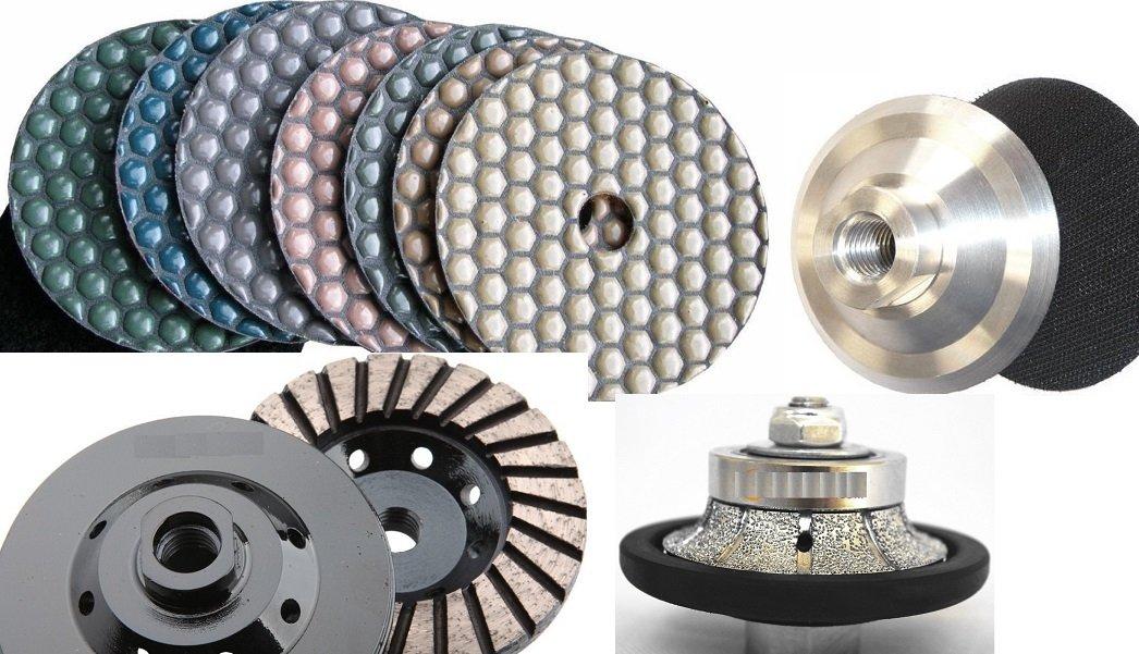 Roundover Bullnose 3/16'' Diamond Brazed Router Bit Profiler 4'' DRY Polishing Pad 18 Pieces (glaze buff included) & 1 Turbo Grinding cup wheel Granite Marble Travertine