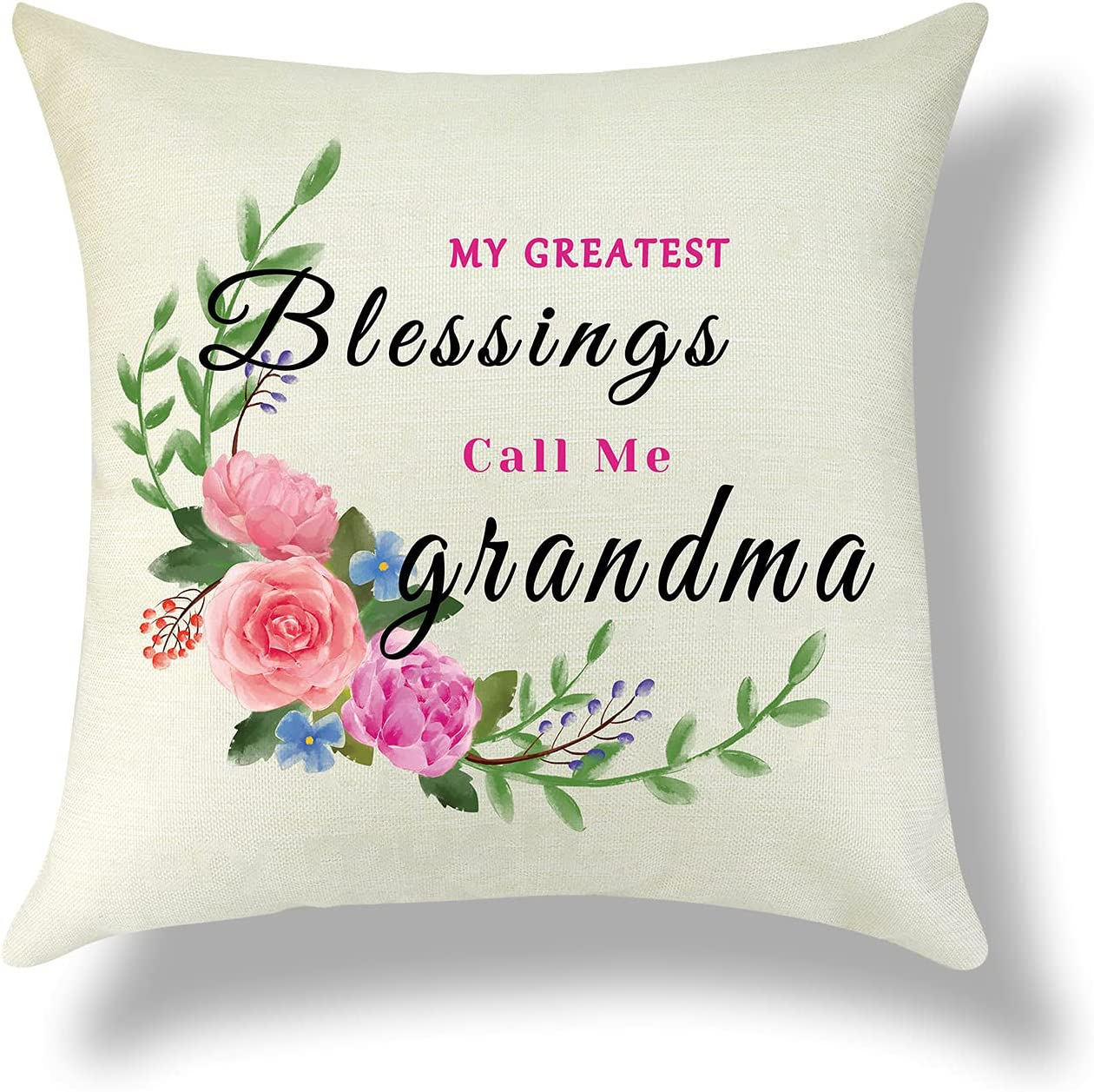 Grandmother Pillow Cover Grandma Gift Cushion Cover Cotton Linen Home Decor Sofa Throw Pillow Cover Grandmother Gift from Grandchildren Pillowcase Christmas Birthday Thanksgiving Gifts for Her 18