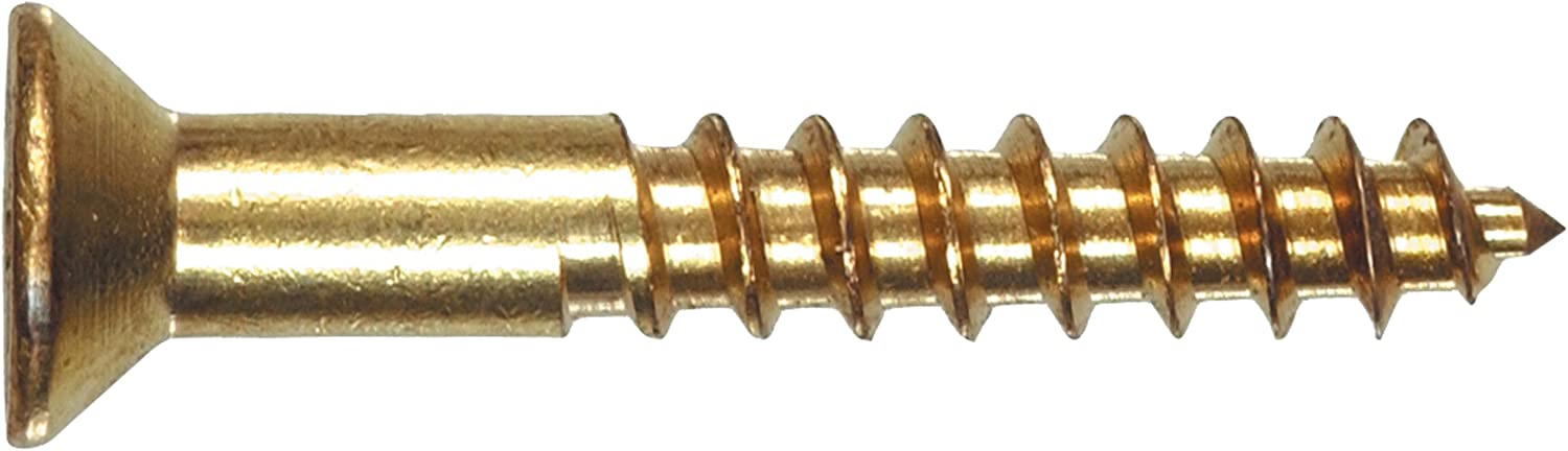 6 x 1-Inch The Hillman Group 41831 Brass Flat Head Phillips Wood Screw 100-Pack
