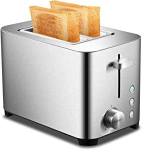 Toaster 2 Slice - Brushed Stainless Steel, 2-Slot Wide-Slot Automatic Toaster, Cancel,Bagel,Defrost, Removable Crumb Tray, 850W
