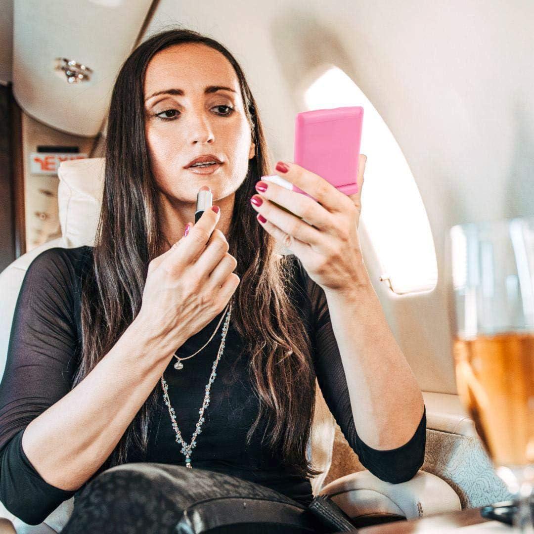 Espejo de maquillaje port/átil con lupa y pantalla t/áctil compacto iluminado espejo cosm/ético doble cara Edrus plegable 8 regulable