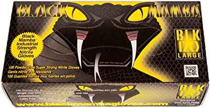 ; Disposable Nitrile Mechanic Glove;HVAC Black Mamba Gloves X-Large 100 per box