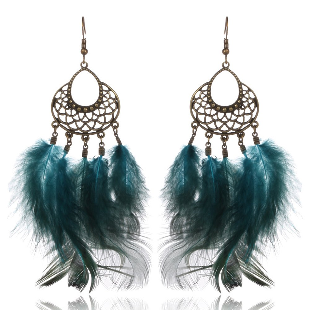 Feather Asymmetric Dangle Earrings Long Silk Tassel Shoulder Duster Earrings with Statement Hook Earrings Five Styles (Green2)