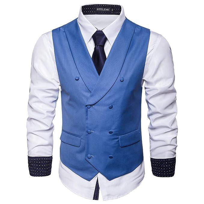 STTLZMC Chaleco Hombre Vestir Sin Mangas Retro Formal Boda Ceremonia Slim Fit,Azul 1,
