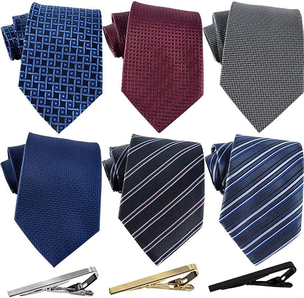 Corbatas 6 para hombre y 3 pinzas para corbata corbata clásica para el cuello