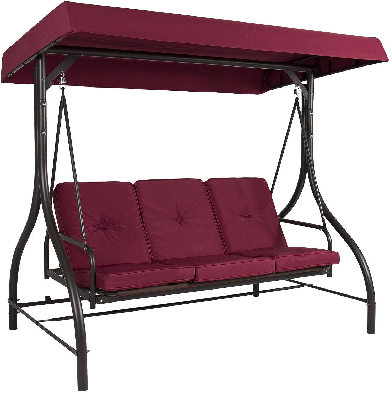 BUY JOY Converting Outdoor Swing Canopy Hammock Seats 3 Patio Deck