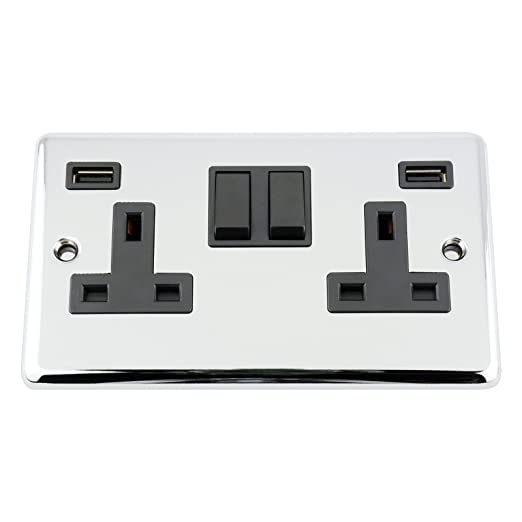 USB Socket 2 Gang - Polished Chrome - Classic - Black Insert Plastic ...