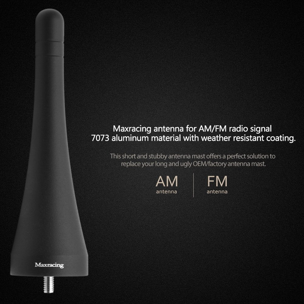 Maxracing Short Aluminum Antenna Replacement for Harley-Davidson Motorcycles 98 to 2019