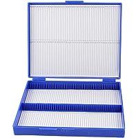 SODIAL(R) Caja De100 Portaobjetos De Microscopio De Azul