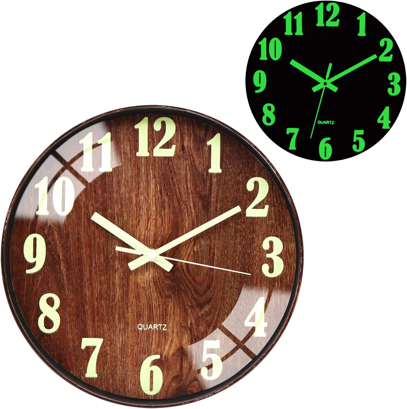 Wall Clocks Night Light Function Wood Grain 12 Inch Non Ticking Silent Quartz Battery Operated Round Easy to Read