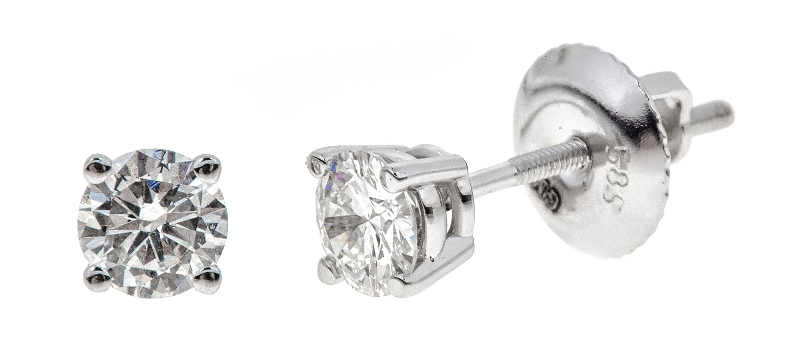 14k White Gold Round-Cut Diamond Stud Earrings (1/2cttw, K-L Color, I2 Clarity)