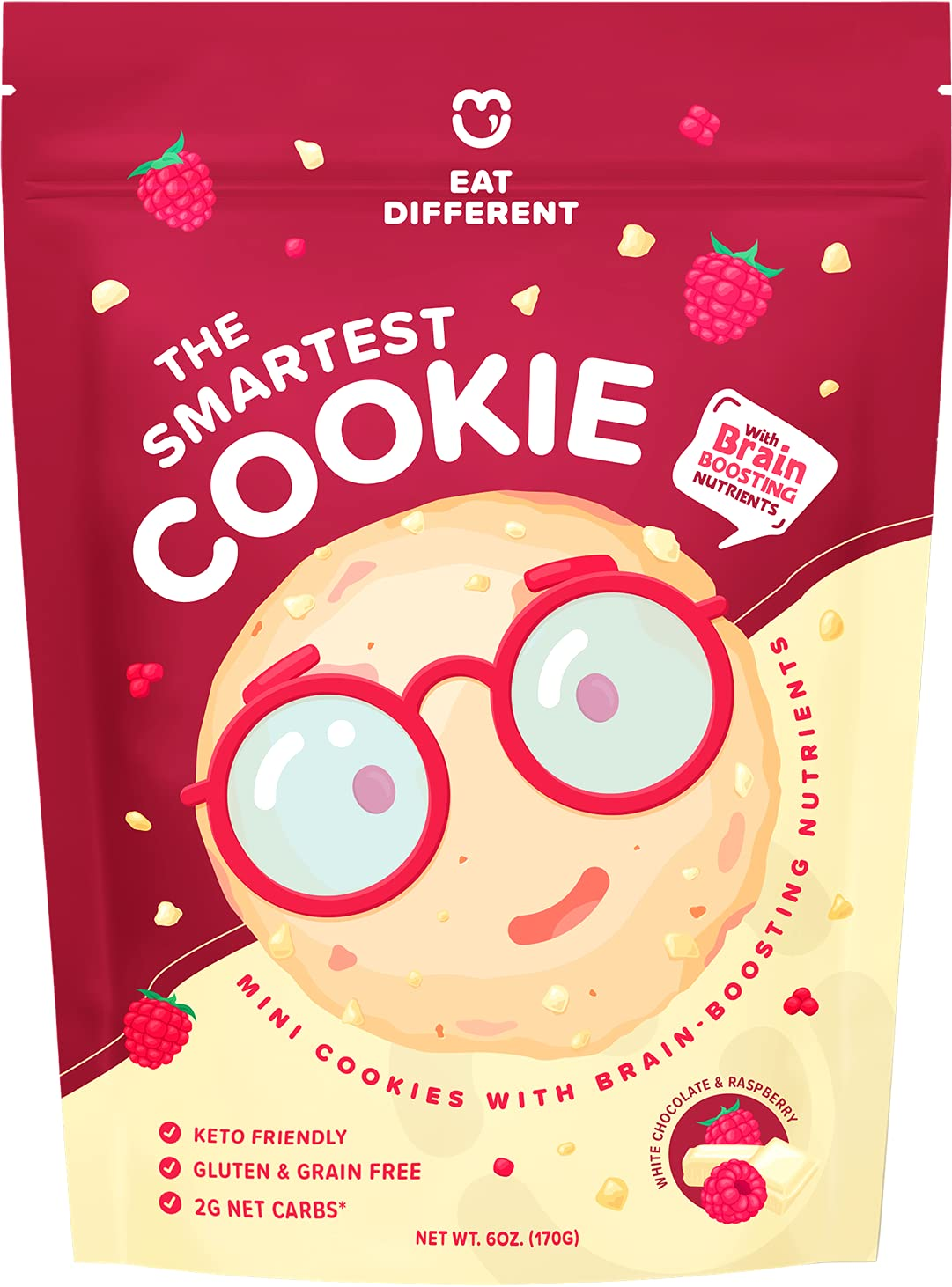 Smart Cookies, Gourmet Low Carb Keto Brain Food Protein Snack with Nootropics, Legendary Gluten Free Healthy Snacks w/ Zero Added Sugar  Perfect High IQ Foods, Diabetic & Bariatric Friendly Sweets (White Choc Raspberry)