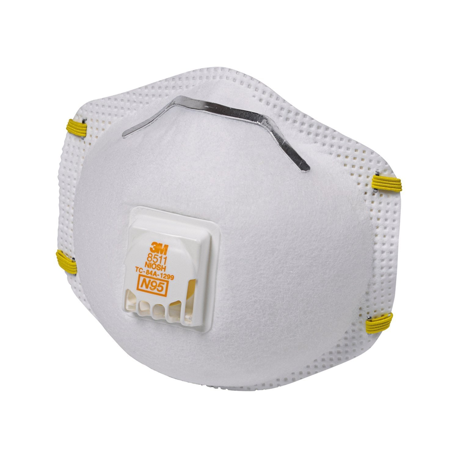 RESPIRATOR DISPOSABLE PARTICULATE N95 NIOSH TWO ELASTIC STRAPS WHITECOOL FLOW EXHALATION VALVE ADJUSTABLE NOSECLIP 3M 8511 Case of 10 Boxes of 10