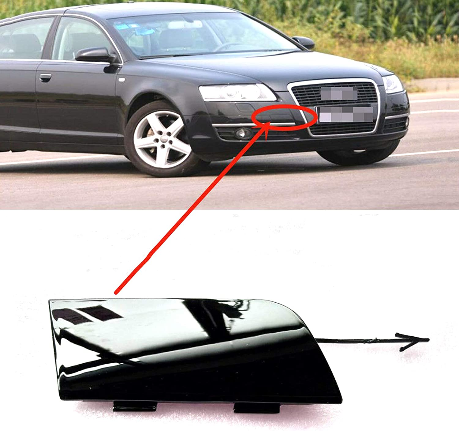 Front Bumper Primed Tow Hook Eye Cover Towing Cap For AUDI A6 C6 05-08 4F0807441