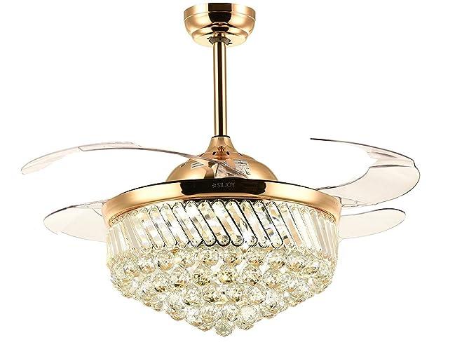 amliks dorado lámpara de techo de cristal Fan Ventilador ...