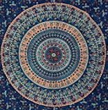 Blue Peacock Tapestry Elephant Mandala Tapestry Wall Hanging Hippie Tapestry Dorm Decor Bohemian Bedspread Bed Cover Bedding Beach Blanket Psychedelic Tapestry