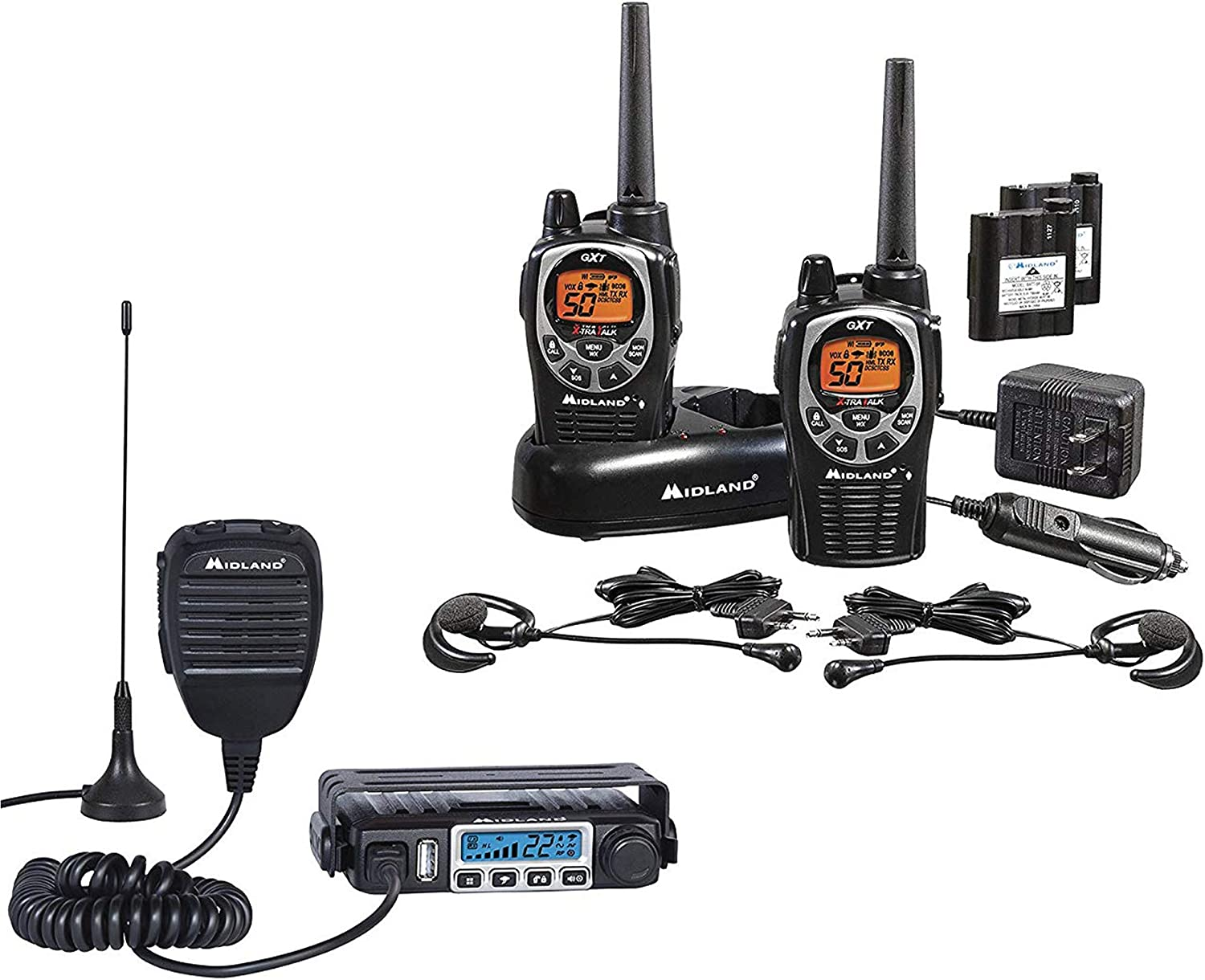 Midland – MXT115 GXT1000 Bundle – MicroMobile Two-Way Radio w External Magnetic Mount Antenna GXT1000 Two-Way Radio – Up to 36 Mile Range Water Resistant Walkie Talkies Pair Pack Black Silver