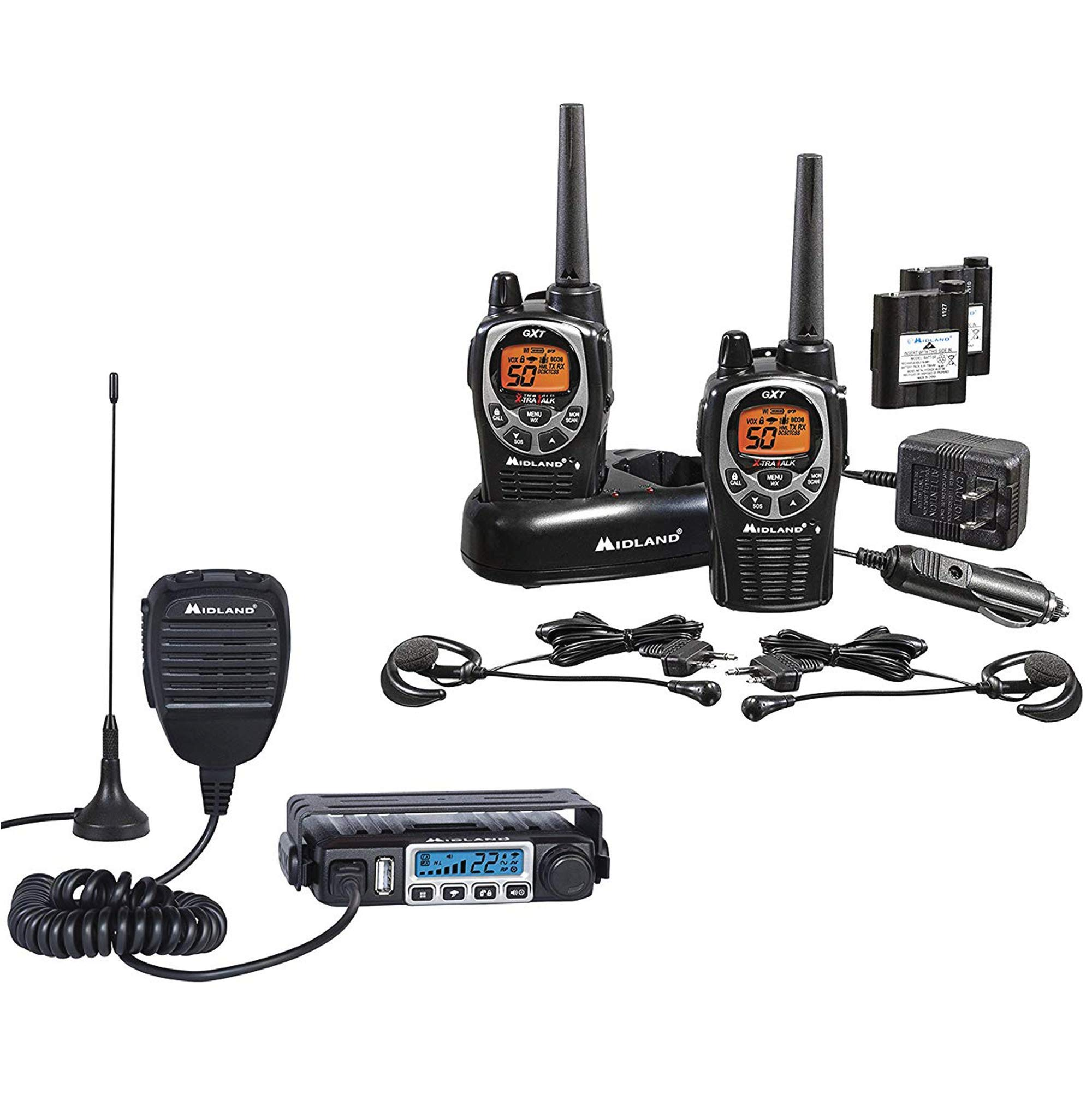 Midland - MXT115 & GXT1000 Bundle - MicroMobile Two-Way Radio w/External Magnetic Mount Antenna & GXT1000 Two-Way Radio - Up to 36 Mile Range Water Resistant Walkie Talkies (Pair Pack)(Black/Silver) by Midland