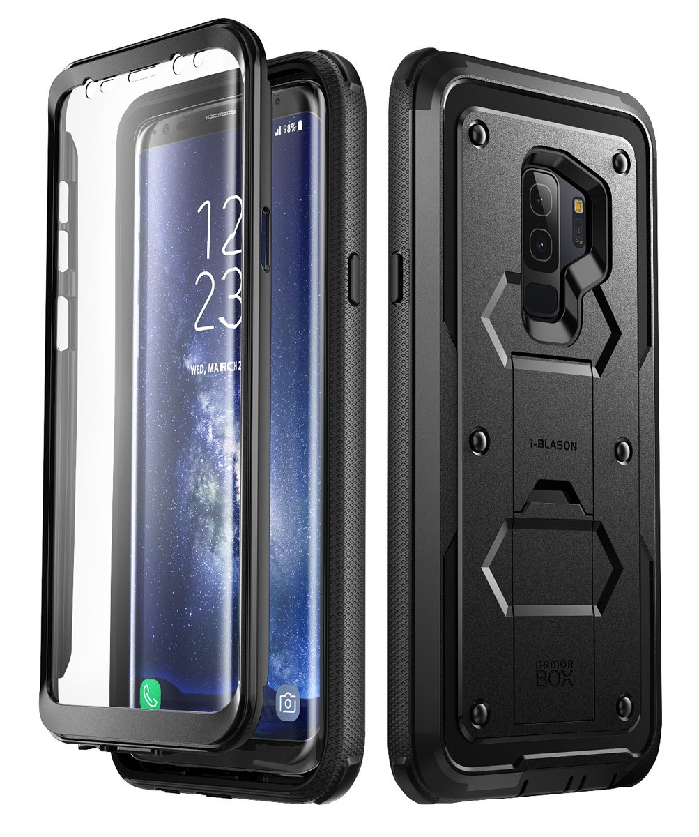 Galaxy S9+ Plus Case, i-Blason [Armorbox V2.0] [Full body] [Heavy Duty Protection ] [Kickstand] Shock Reduction/Bumper Case with Screen Protector for Samsung Galaxy S9+ Plus (2018 Release) (Black) by i-Blason (Image #1)