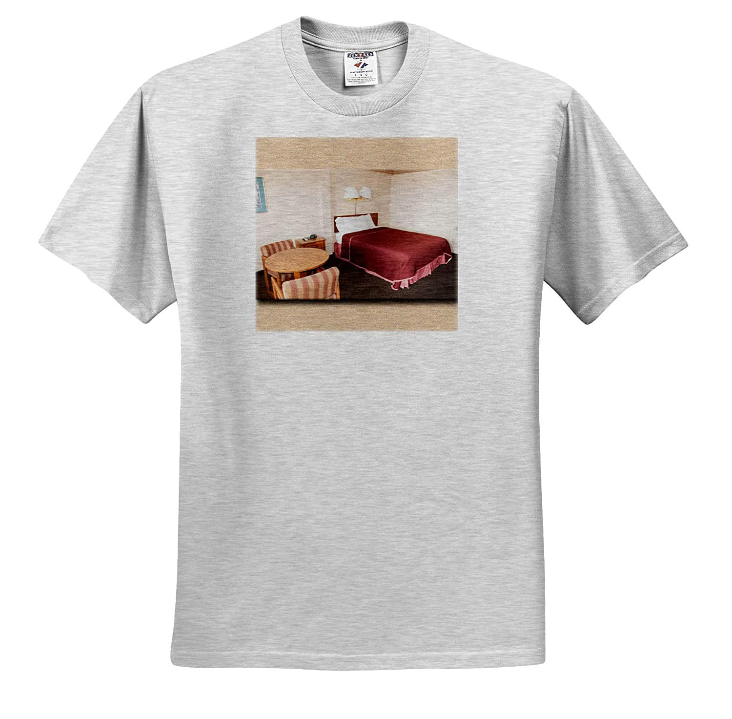 T-Shirts Hotel Room 3dRose Jos Fauxtographee A Hotel Room in Brigham City with Maroon Bedspread and Table