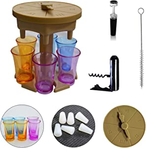 Liorwvo 6 Shot Glass Dispenser And Holder, Drink Dispenser For Filling Liquids, Beverage Dispenser With Game Pointer And Silicone Stopper, Suitable For All Kinds Of Parties (brown)