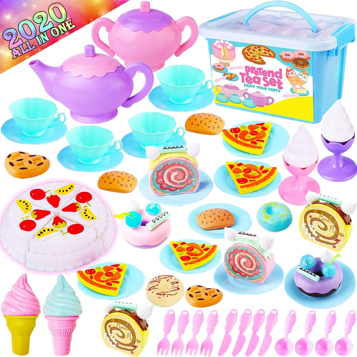 GraceDuck Tea Set for Little Girls - Pretend Play Kitchen Accessories Princess Party Tea Pot Plastic Food Cake Plate Cups Stuff Gifts Childs Baby Toddler Toys for Girl Boy Ages 3 4 5 6 7 8 9 Year Old