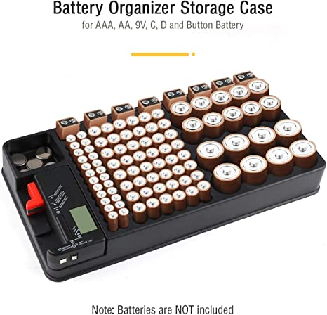 Battery Storage Organizer with Removable Tester Holds Up to 110 Batteries Including AA AAA 9V C D Size and More Wall Mountable