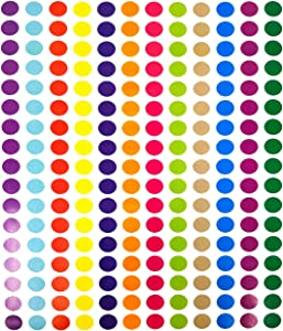 """Tag-A-Room 1/2 Inch Round Color Coding Circle Dot Sticker Labels, 12 Bright Colors, 8 1/2"""" x 11"""" Sheet (2040 Pack)"""