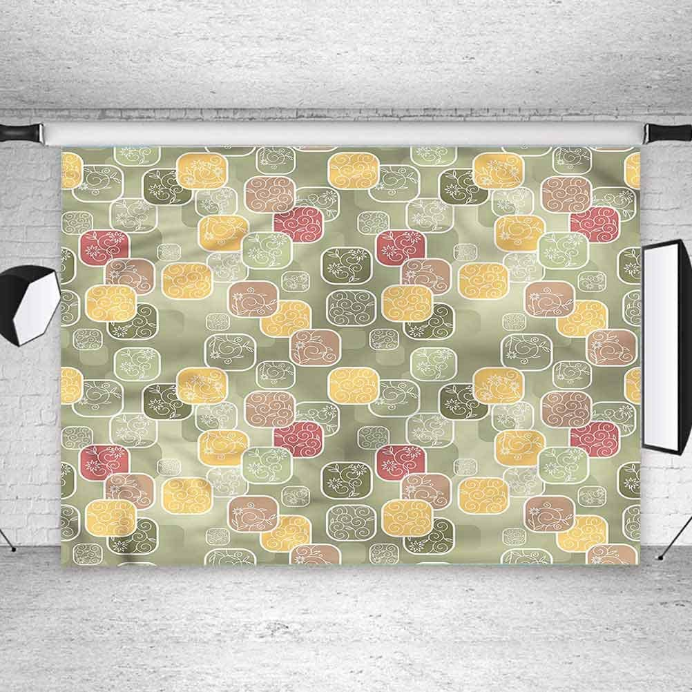 6x6FT Vinyl Wall Photography Backdrop,Floral,Geometric Squares Swirls Background for Baby Birthday Party Wedding Studio Props Photography