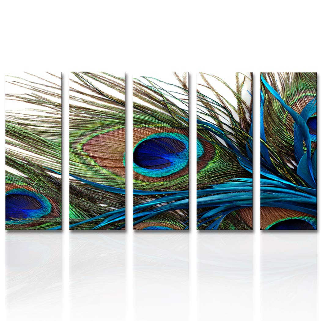 Canvas Prints Wall Art Peacock Feathers Painting Bird Plume Modern Art for Living Room Decoration Ready to Hang set of 5 (10x28inch(25x70cm)x5pcs)