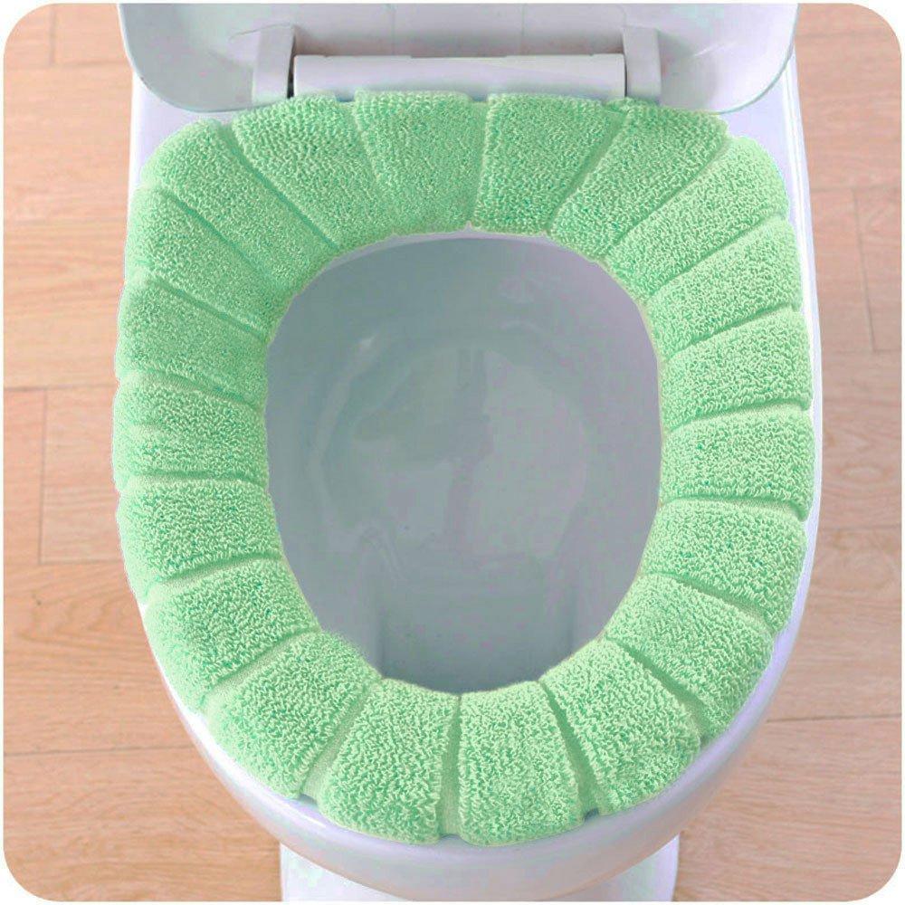 Lljin Comfortable Velvet Coral Toilet Seat Cover Standard Pumpkin Pattern Cushion (Light Blue)