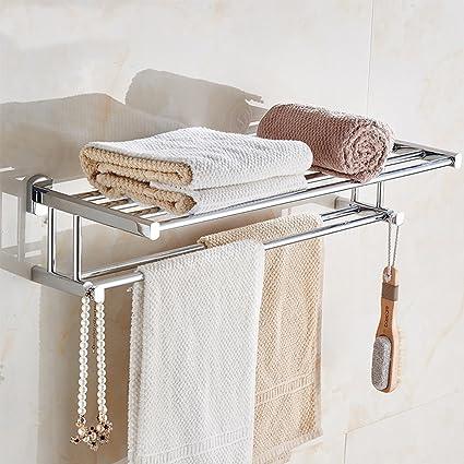 Doble capa Cobre estante estantería Acero Inoxidable Toalla Baño Bañera Cromado. Inodoro Baño elegante plata