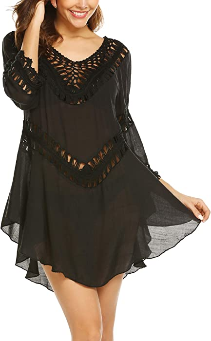 ... Coverups Crochet Smock Hollow Out Beach Dress. ELOVER Women s Swimsuit  Cover Ups Chiffon Bikini Crochet Smock Beach Swimwear Dress Black S fbbf69dab