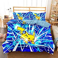 WX&QIANG Bedroom Bedding 3D Printed Pokemon Duvet Cover Sets 3D Printed Pokémon PikaQiu 3 Piece Set Bed Linings 100…