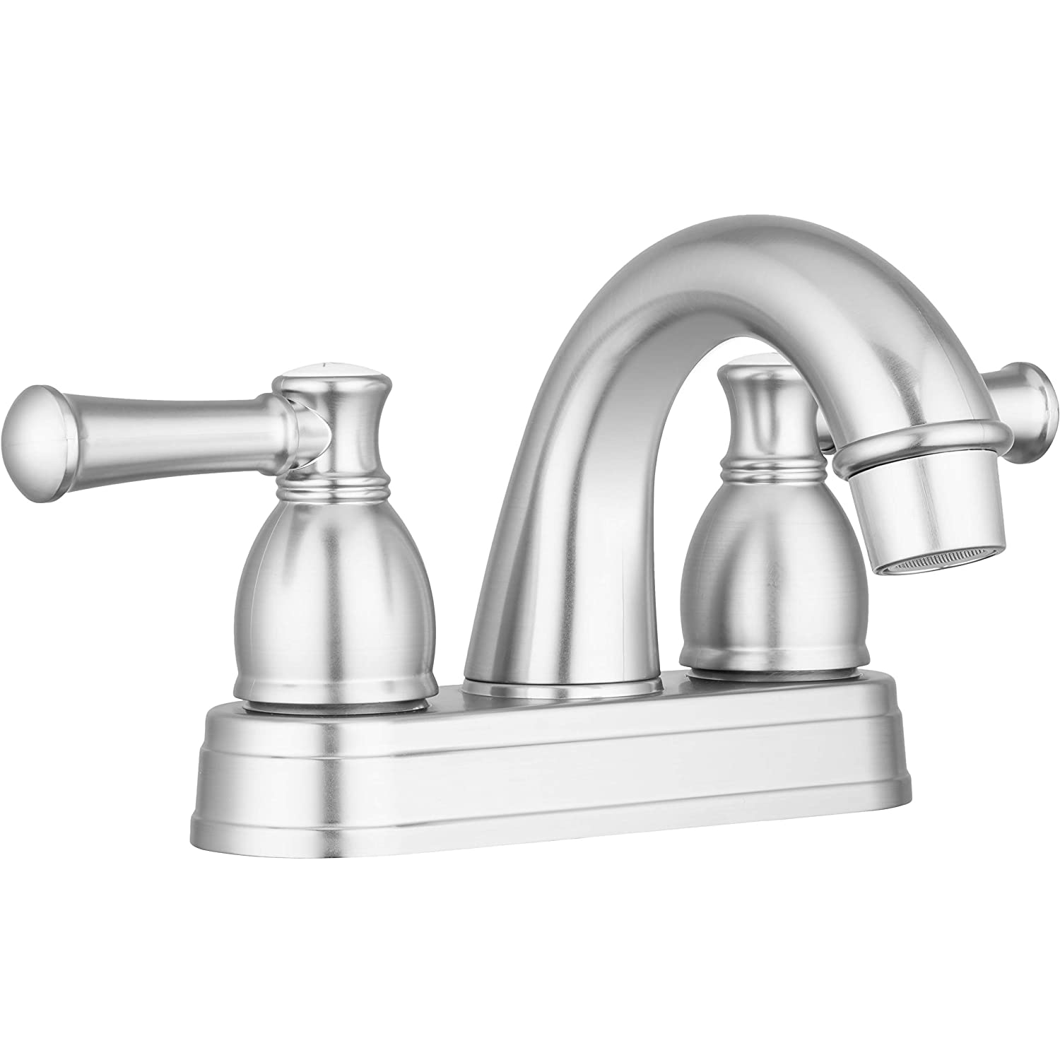 Dura Faucet RV Bathroom Faucet with Arced Spout and Bell Style Two Lever Operation for all Recreational Vehicles, Travel Trailers, Motorhomes, and 5th Wheels (Brushed Satin Nickel)