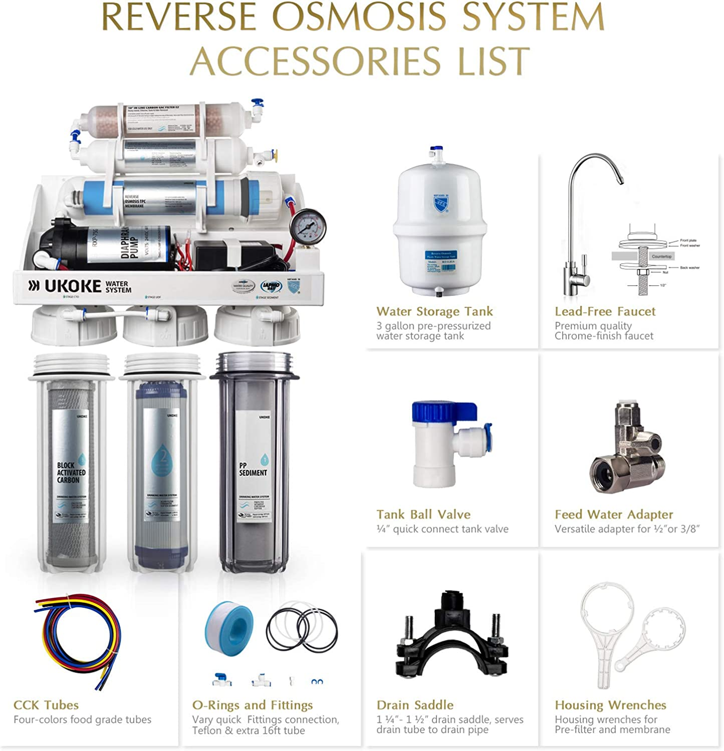 Ukoke RO75GP 6 Stages Reverse Osmosis Water Filtration System, Under Sink pH+ Alkaline Remineralizing RO filter & Softener, NSF/ANSI 58 & IAPMO Platinum Seal Certified, 75 GPD, White with Pump - -
