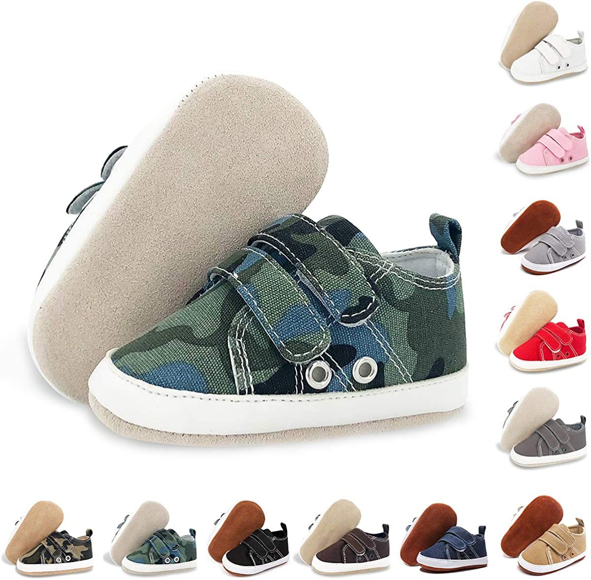 BENHERO Baby Boys Girls Shoes Canvas Infant Sneakers 100/% Leather Anti-Slip Buttom Baby Walker Crib Shoes