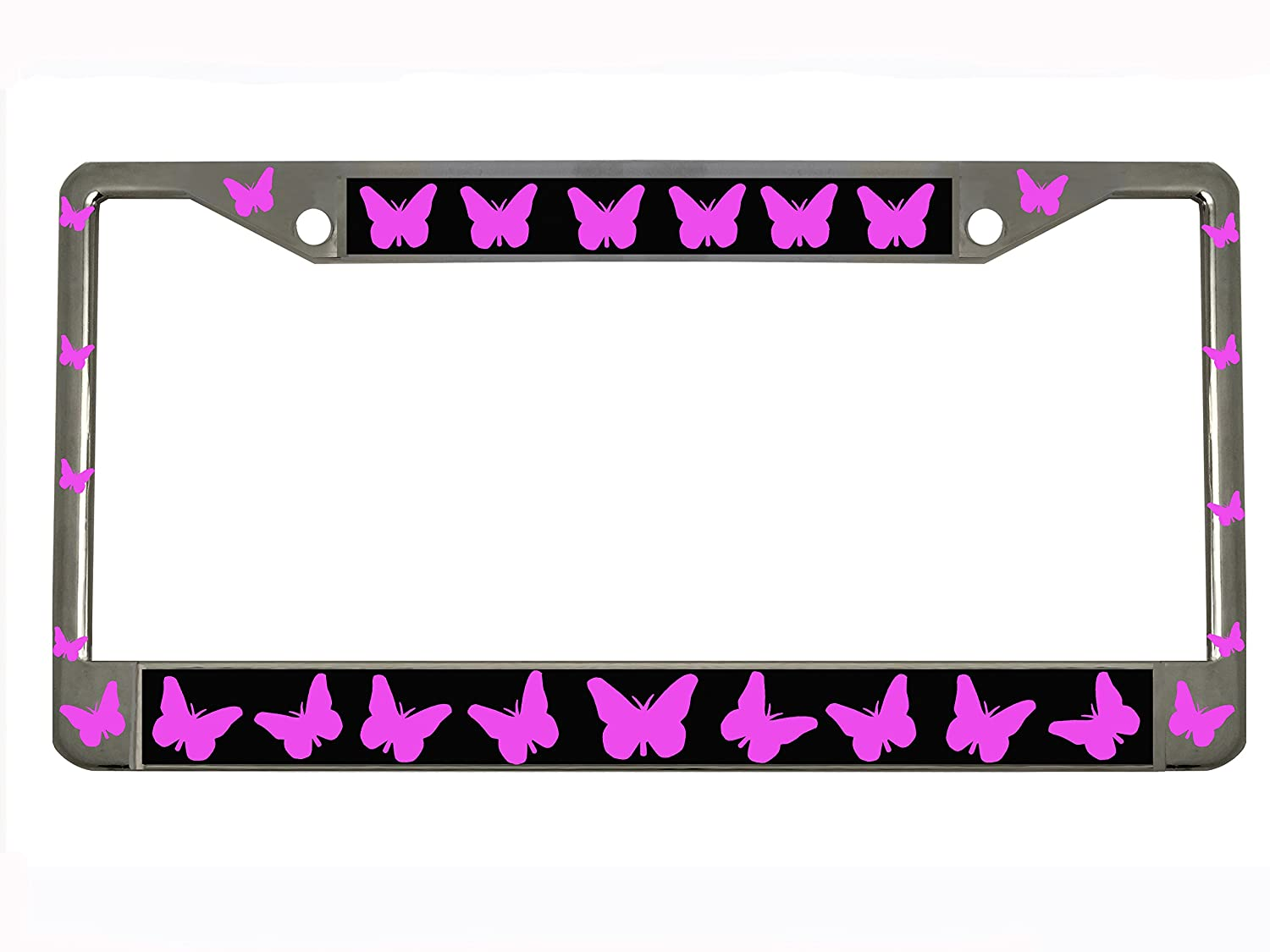 Butterfly Chrome Metal Auto License Plate Frame Car Tag Holder