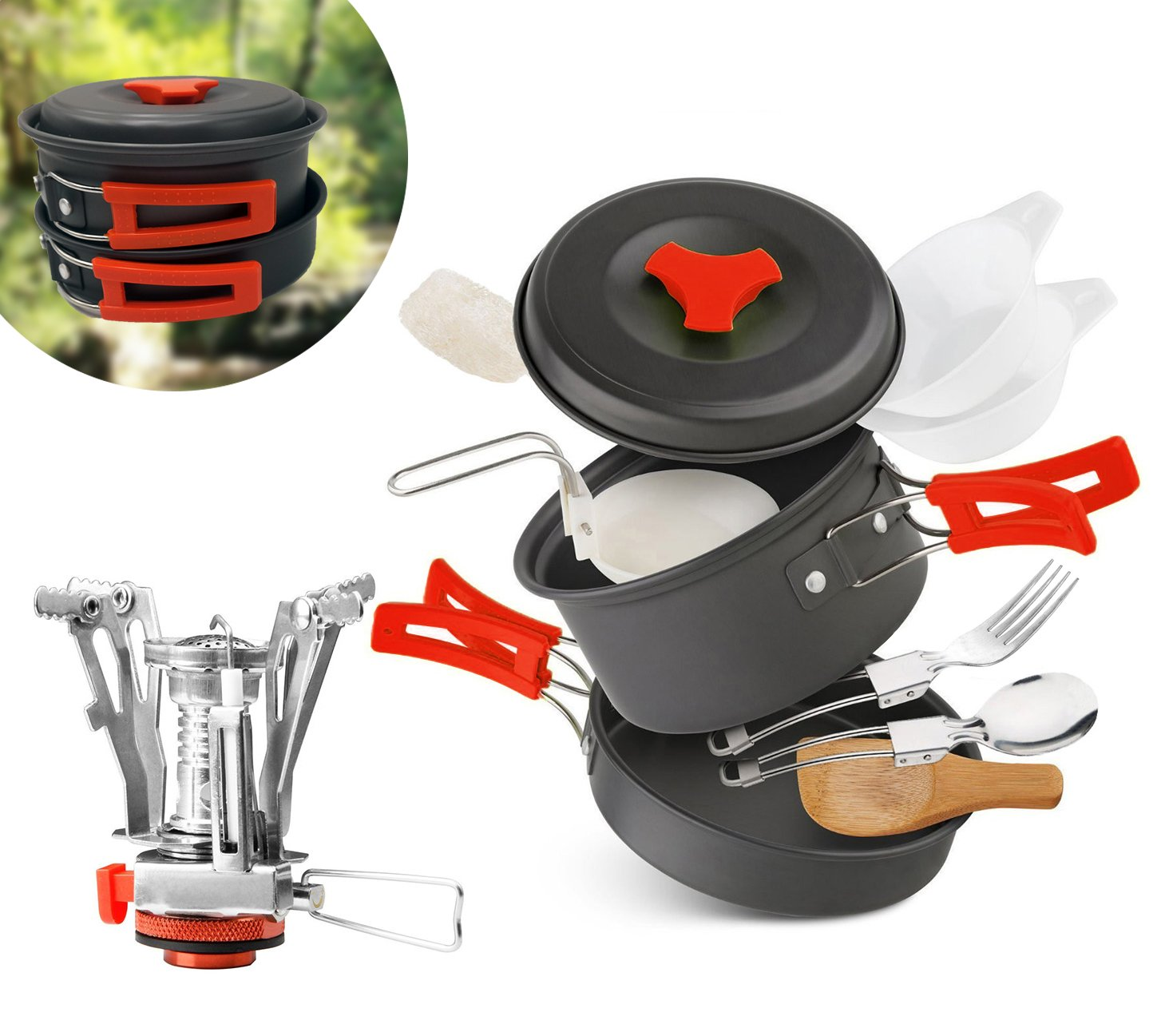 AnimaMiracle Camping Cookware Mess Kit & Small Backpacking Stove Ultralight, Lightweight, Compact, Folding Pot and Pans | Hiking Outdoors Bug Out Bag Cooking Equipment Cookset