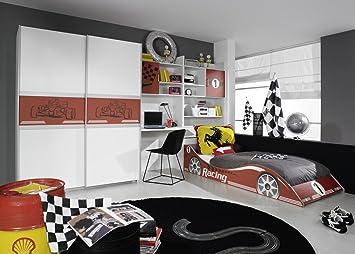 Wolf Möbel Kinderzimmer Formula Blau Oder Rot mit Autobett für ...